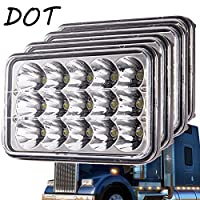 "Classic 4""X6"" Inch Led headlights for for H4651 H4652 H4656 H4666 H6545 Freightliner Kenworth Peterbilt International Volvo Sterling Western Star Mack(Black 4Pcs)"