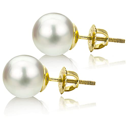 14k Yellow Gold 11-11.5mm White Round South Sea Cultured High Luster Pearl Screw-back Earrings