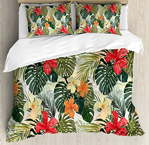 Ambesonne Leaf Duvet Cover Set Queen Size, Hawaiian Summer Tropical Island Vegetation Leaves with Hibiscus Flowers, Decorative 3 Piece Bedding Set with 2 Pillow Shams, Green Orange and Yellow