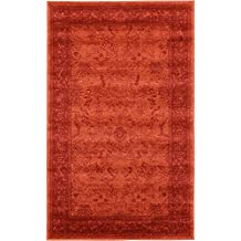 Synthesized Modern and Traditional Design - Rust Red, 3' 3 x 5' 3-Feet St. Albans Collection Area rug - Vintage Contemporary Living Dining Room - Bedroom Decoration Rugs and Carpets