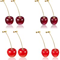 4 Pairs Cherry Earrings Cherry Sweet Earrings 3D Cherry Dangle Earrings with 10 Pieces Ear Lines for Women and Girls