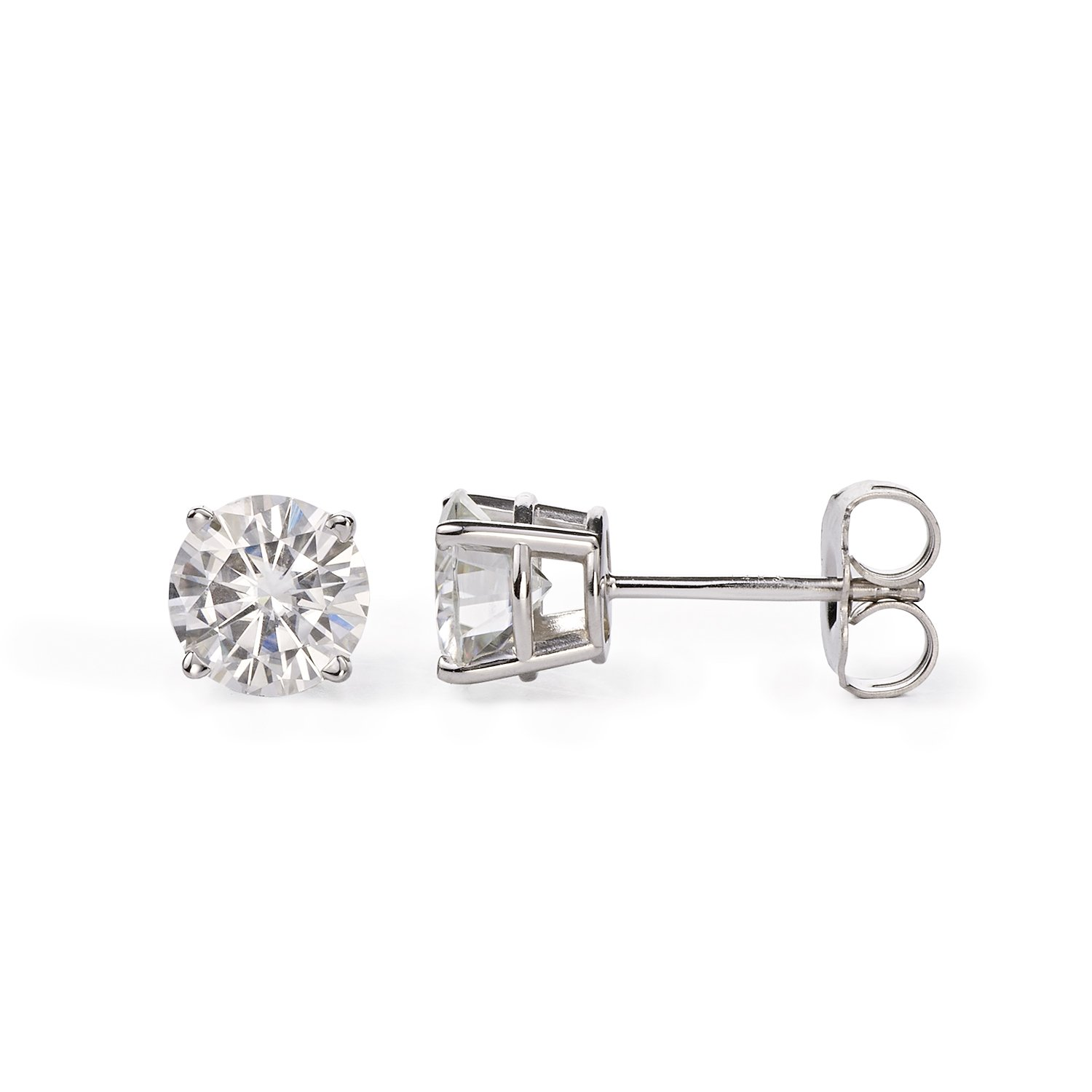 Forever One 6.0mm Round Cut Moissanite Stud Earrings, 1.60cttw DEW (G-H-I) By Charles & Colvard by Charles & Colvard