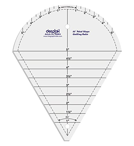 60° Petal Shape Quilt Designing and Crafting Quilting Ruler Template ...