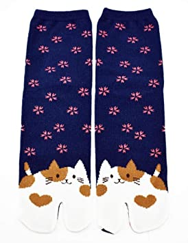 "Tabi calcetines ""aoneko japonés Split 2 par Toe Ninja Geta Flip Flop Sandal Tobillo"