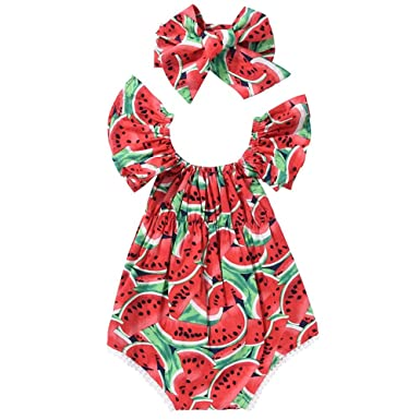 7180fa15bfd Domybest 2pcs Set Newborn Baby Girls Watermelon Fly Sleeves Romper Headband  0-6M