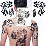 Yeeech Temporary Tattoos Sticker Waterproof Realistic Extra Large Arhat Dragon Tribal Geometric Designs Blue Black (3 Sheets)