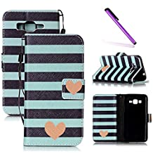Galaxy Grand Prime Case,LEECOCO Fancy Print Design Wallet Case with Card Slots Shockproof Colorful Floral PU Leather Flip Stand Case Cover for Samsung Galaxy Grand Prime G530 Black Blue Stripe