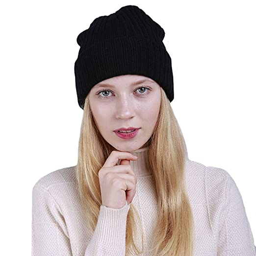 656ef2523e2 BLACOCO Unisex Womens Skull Caps Warm Knitting Beanie Beret Hats (Black)