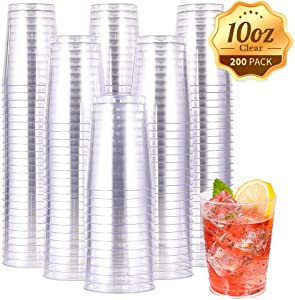 10 OZ Clear Disposable Plastic Cups, Clear Plastic Cups Tumblers, Heavy-duty Party Glasses, Disposable Cups for Wedding,Thanksgiving, Christmas Party(200 Pack)