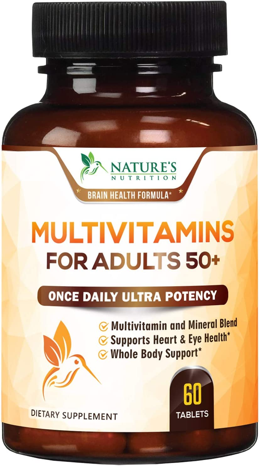 Multivitamin for Adults 50 Plus Extra Strength Daily Multivitamins and Minerals Supplement 627mg - Made in USA - Multi Vitamins A, C, D, E, B12, Iron, and Calcium for Men & Women - 60 Tablets