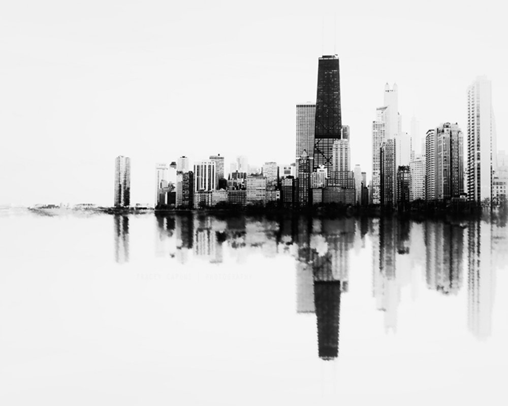 ''Soundwave in Black and White'' Abstract Photograph of the Chicago Skyline Unframed Lustre Print