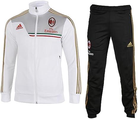 adidas AC Milan poliéster Chándal para Hombres, White - Black ...
