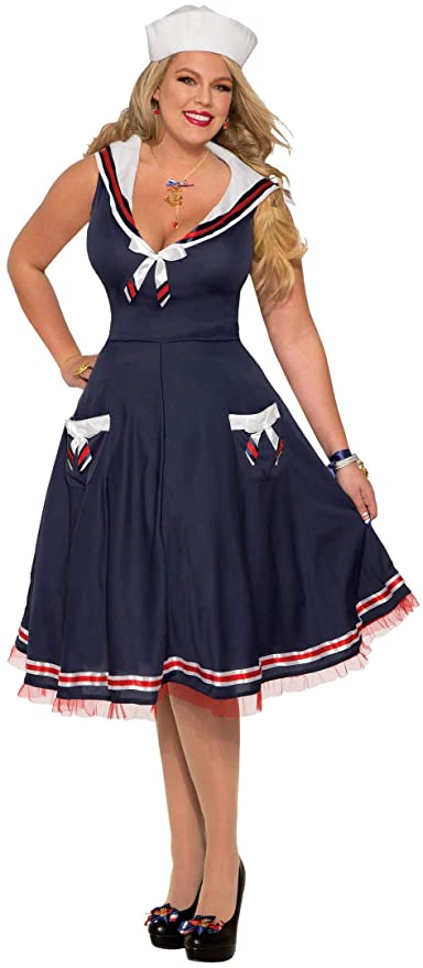 1940s Costumes- WW2, Nurse, Pinup, Rosie the Riveter Forum Novelties Plus Size Womens Ships Ahoy Costume $44.99 AT vintagedancer.com