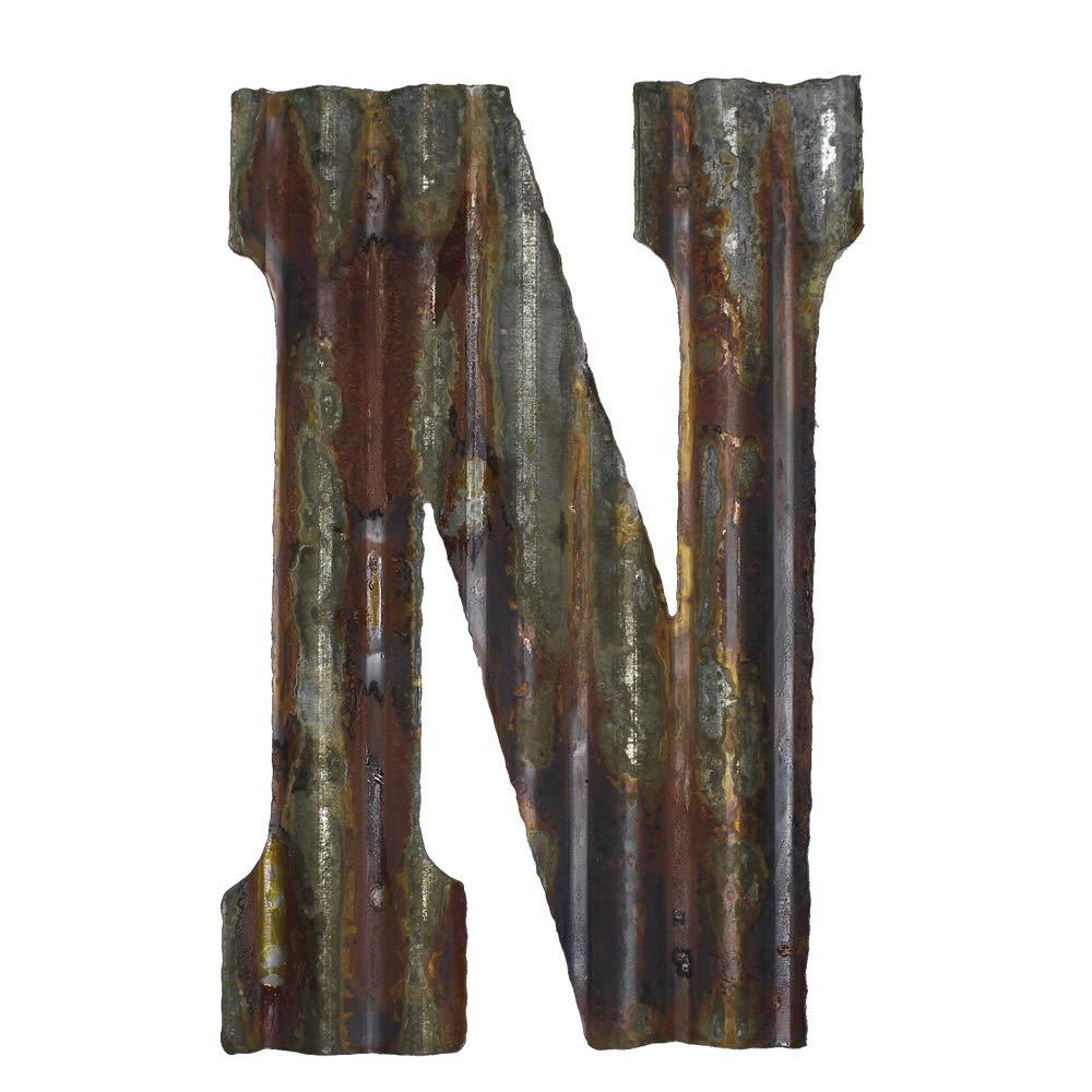 "Farmhouse Rustic 12"" Wall Decor Corrugated Metal Letter -N"