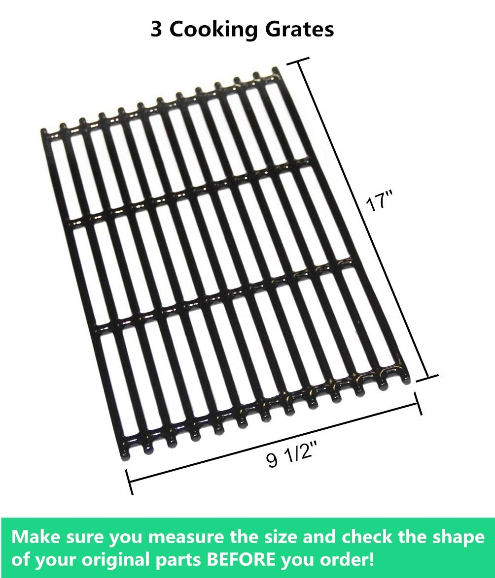 463276016 VICOOL hyG937C Glossy Porcelain Coated Cast Iron Cooking Grid Grates for Charbroil 463242715 466242815 Gas Grills 463242716 Walmart #555179228 466242715 Lowes #606682 G533-0009-W1