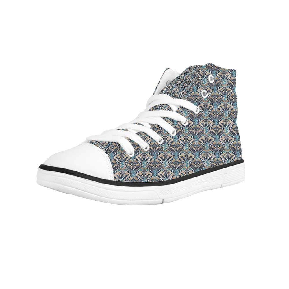 YOLIYANA Asian Comfortable High Top Canvas Shoes,Oriental Checkered Pattern Grid Style Patchwork Design Mosaic Ornamental Design Decorative for Women Girls,US 5