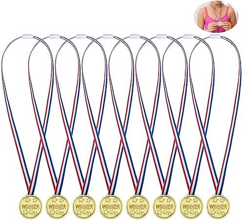 Febbya Medallas para Niños,Medallitas Juguetito de Plástico 24 Piezas Ganadores Medallas Oro Mini Olimpiadas con Cordón para Juegos Fiestas Infantiles Prizzes Regalos Premios 4CM: Amazon.es: Hogar