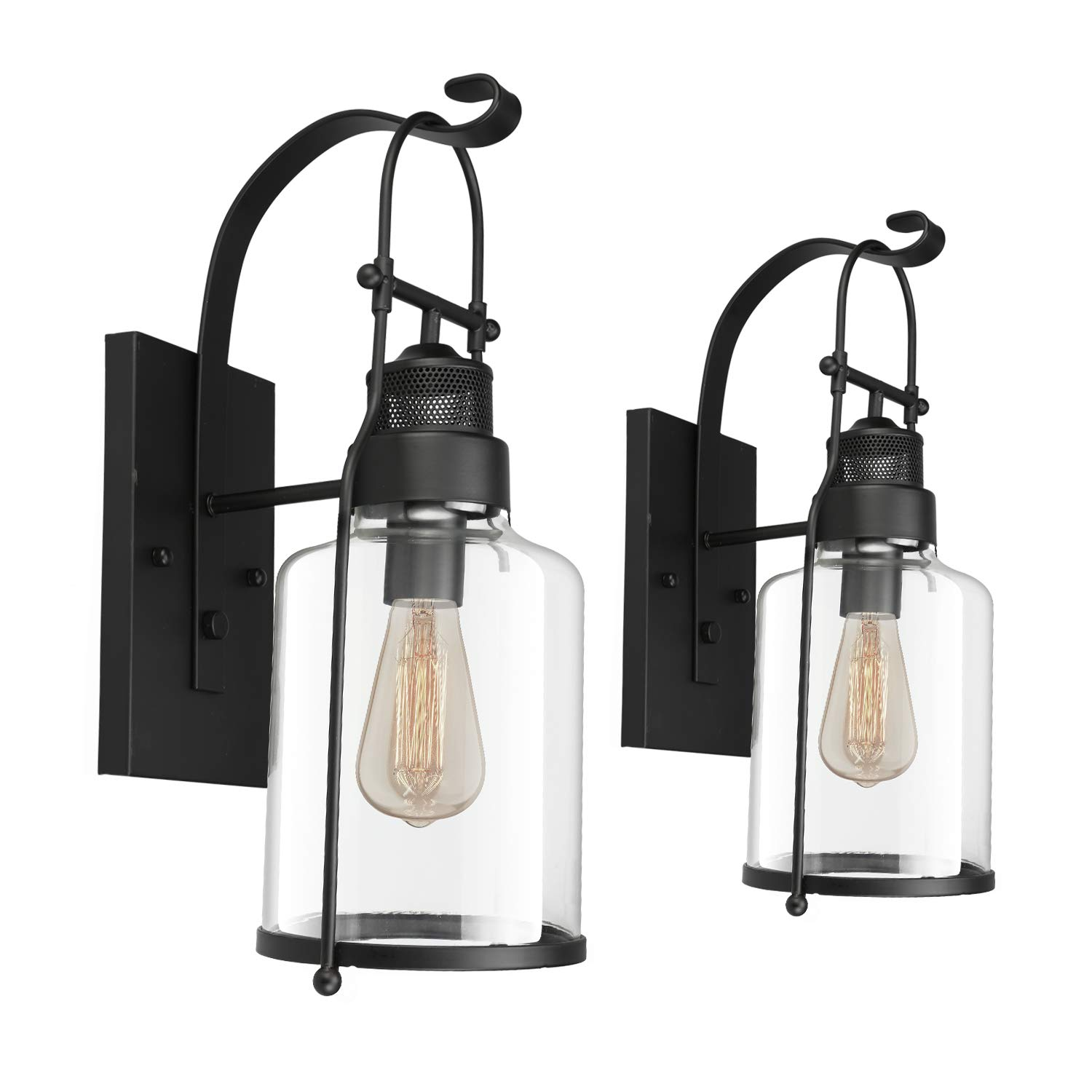 2pcs Vintage Glass Wall Lamp, Motent Industrial Retro Iron Glass Wall Lantern in Rubbed Bronze Finished, Antique Minimalism 1-Light Cage Box Wall Sconce, 5.9'' Dia for Bedside Corridor Parlor - Black