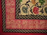 Mediterranean Floral Tapestry Cotton Bedspread 106'' x 88'' Full-Queen Red