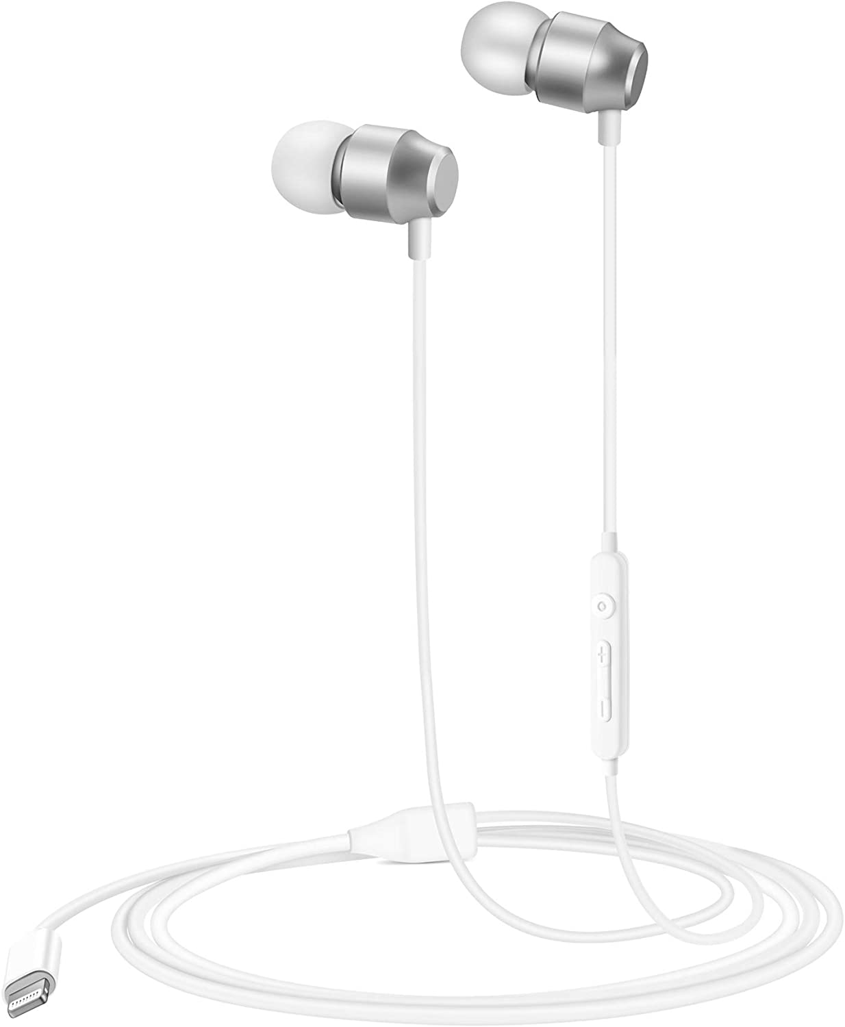 PALOVUE Earflow in-Ear Lightning Headphones Magnetic Earphones MFi Certified Earbuds with Microphone Controller Compatible iPhone 12/11/X/XS/XS Max/XR iPhone 8/P iPhone 7/P (Metallic Silver)