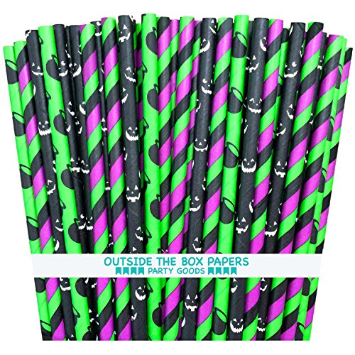 Outside the Box Papers Green, Purple, Black and White Striped Halloween Themed Paper Straws Pumpkins, Witch Cauldron Halloween Party Supply 100%Biodegradable 7.75 (Halloween Themed Cake Pops)