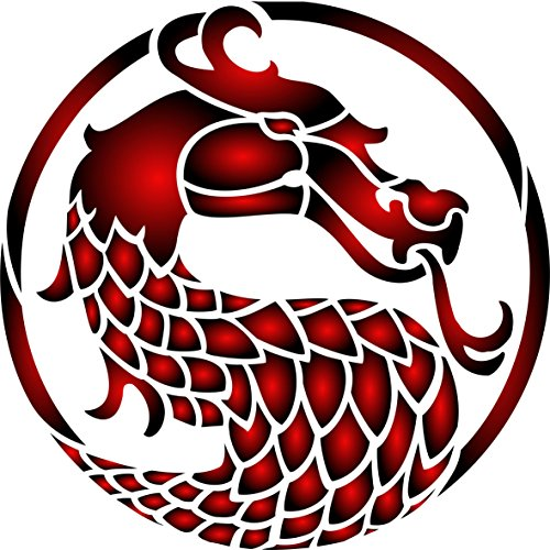 "Stencils for Walls - Dragons Head Stencil - (size 3.25""w x 3.25""h) Reusable Oriental Asian Dragon Stencils for Painting - Use on Walls, Floors, Fabrics, Glass, Wood and - Glasses For Asians"