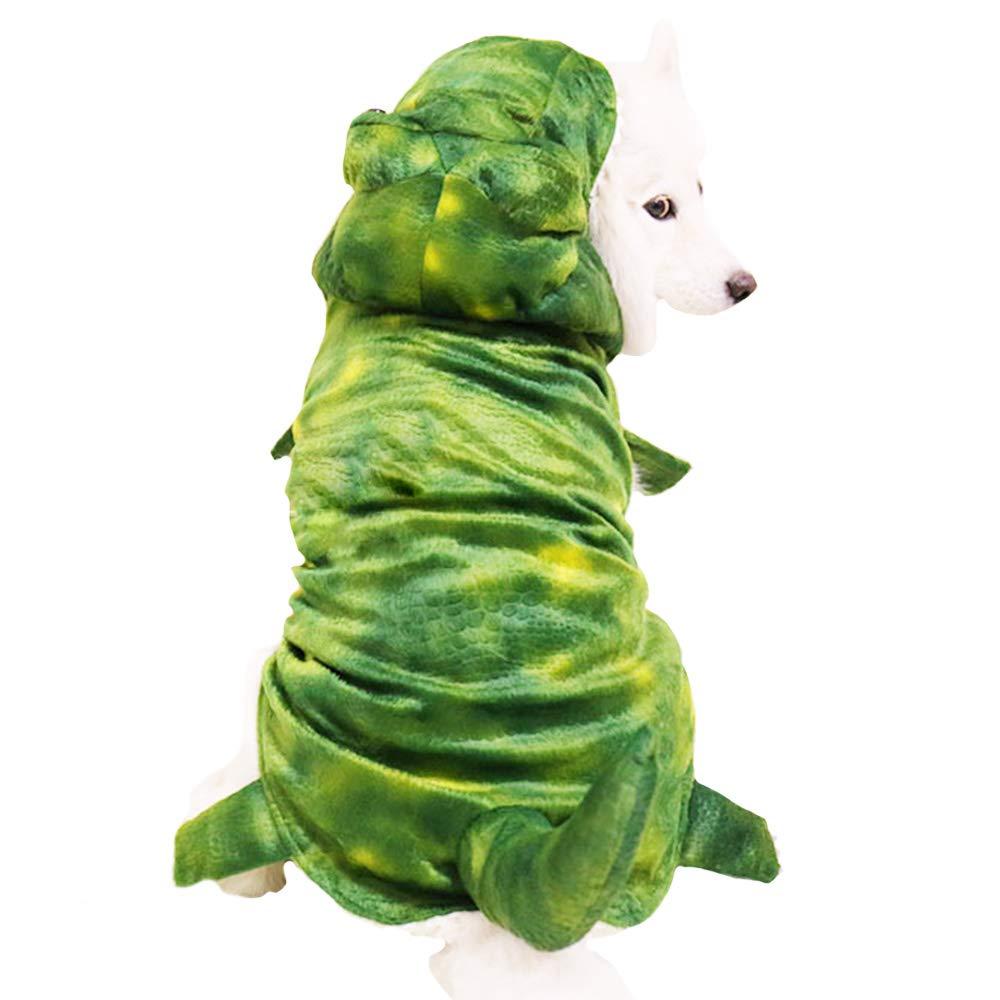 Green 5XL Green 5XL MUYAOPET Halloween Dinosaur Large Dog Costume Outfts Dog Winter Pet Coat Jacket for Bulldog (5XL, Green)