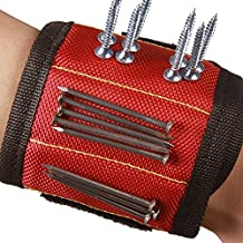 Hense Durable Multi-purpose Magnetic Wristbands, With 6 Powerful Magnets,Best For Holding Tools,Screws,Nails,Bolts, Drilling Bits and Small Tools and Screws Pouch (HSZ-07-CAN) (Red, 1 pack)