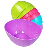 KSEV 8 Pack Small Hard Plastic Serving Baby Bowls Set - 12oz, [BPA FREE] Microwavable   Dishwasher Safe, Great for Kids Toddlers Portion Control, Chips, Snack, Dish, Dip, Candy bowls - Assorted Colors