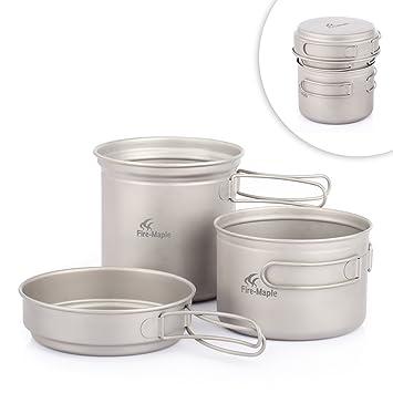 Fire-Maple Horizon-2 3pics kit de utensilios de titanio de cocina vajilla ollas para camping senderismo picnic al aire libre