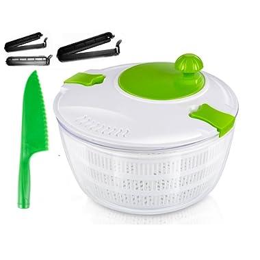 OLIVIA & AIDEN Salad Spinner Set - Includes Large Salad Spinner With Colander and Dishwasher Safe Bowl, Lettuce Knife, and 3 Airtight Bag Clips - Salad Prep Set | 4.5 Quart