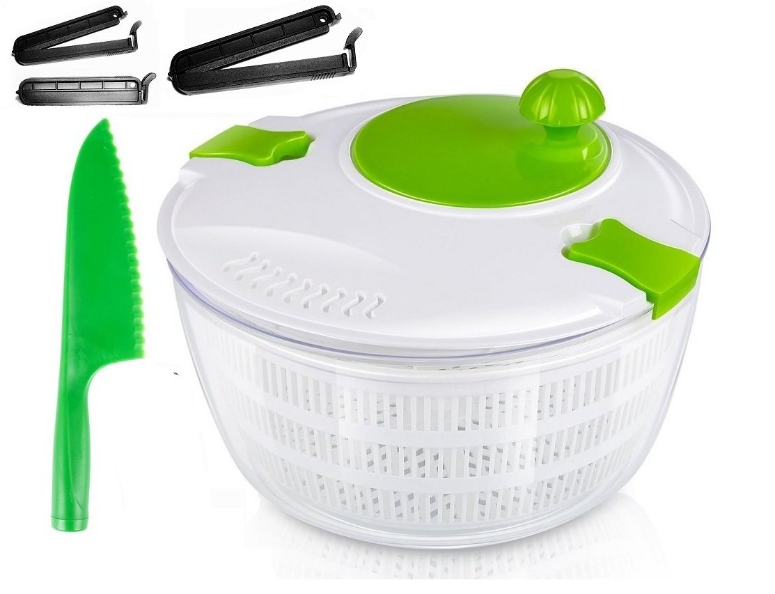 OLIVIA & AIDEN Salad Spinner Set - Includes Large Salad Spinner With Colander and Dishwasher Safe Bowl, Lettuce Knife, and 3 Airtight Bag Clips - Salad Prep Set | 4.5 Quart by Olivia's Home Goods (Image #1)