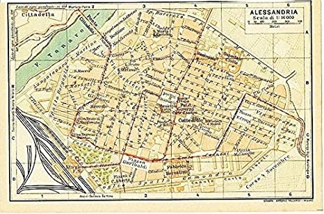 Alessandria Italy Map.Amazon Com Alessandria Piedmont Italy 1930 Vintage Color Lithograph