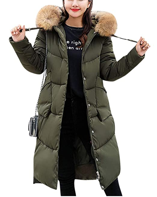 QitunC Damen Lange Daunenjacke Outwear Warm Daunenmantel