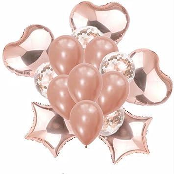 15 Stuck Rose Gold Star Herz Runde Luftballons Set Aufblasbar Folie