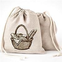Bolsas de pan de lino - 3 unidades 11 x 15 Speical Art diseño natural sin blanquear lino reutilizable alimentos…