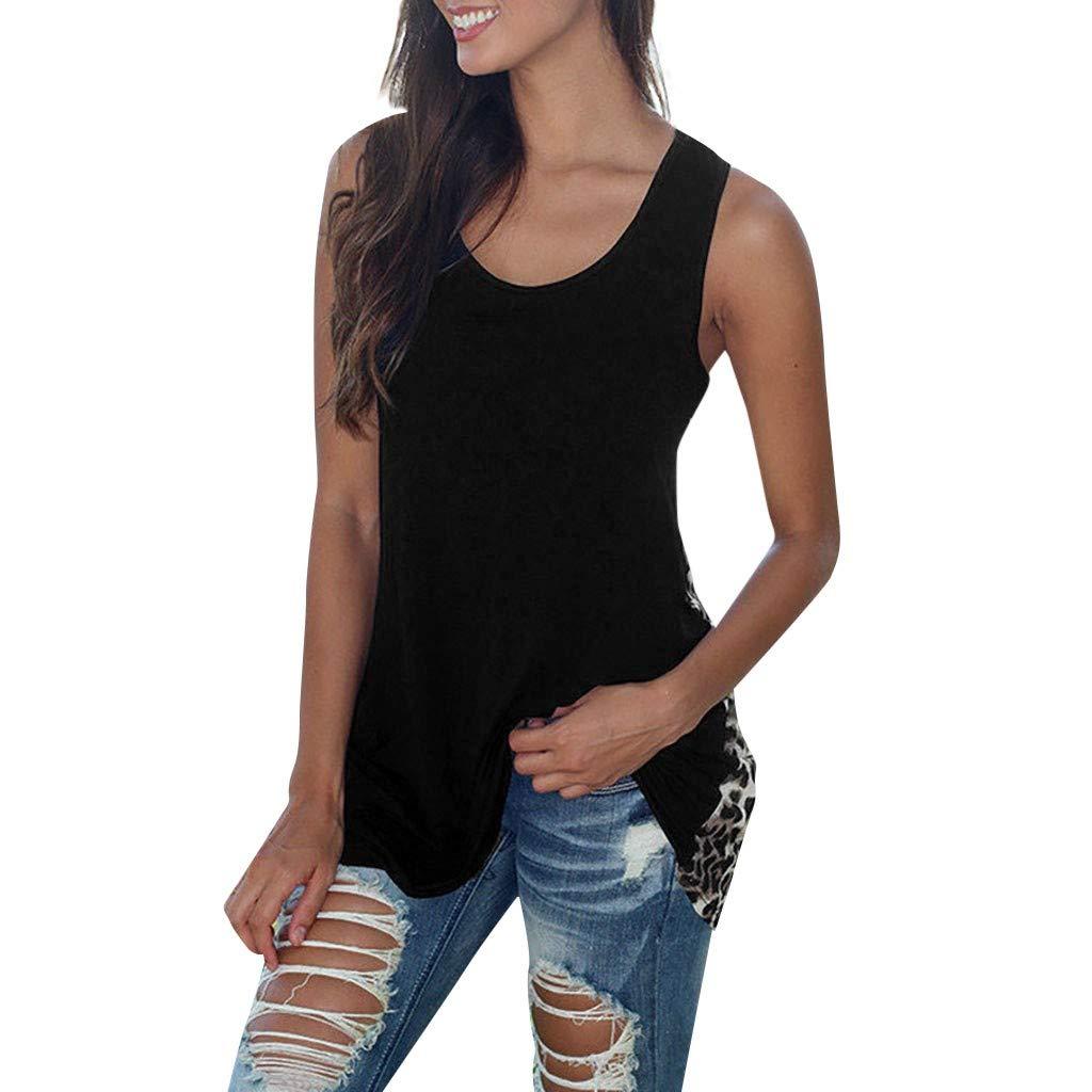 Libermall Women's Tank Tops Loose Fit Summer Leopard Print Round Neck Cami Vest Sleeveless Shirts Blouse Tops Black
