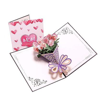 Ruikey Tarjeta de felicitación 3D Clavel Bouquet Tarjeta del ...