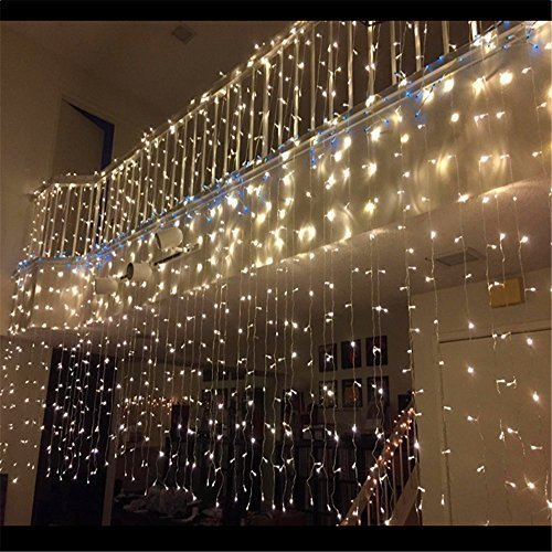 Led Fairy String Lights Curtain, 300leds 9.8x9.8ft 8 Modes, UL LISTED for Christmas Decorations Waterfall Lighting (Warm White)