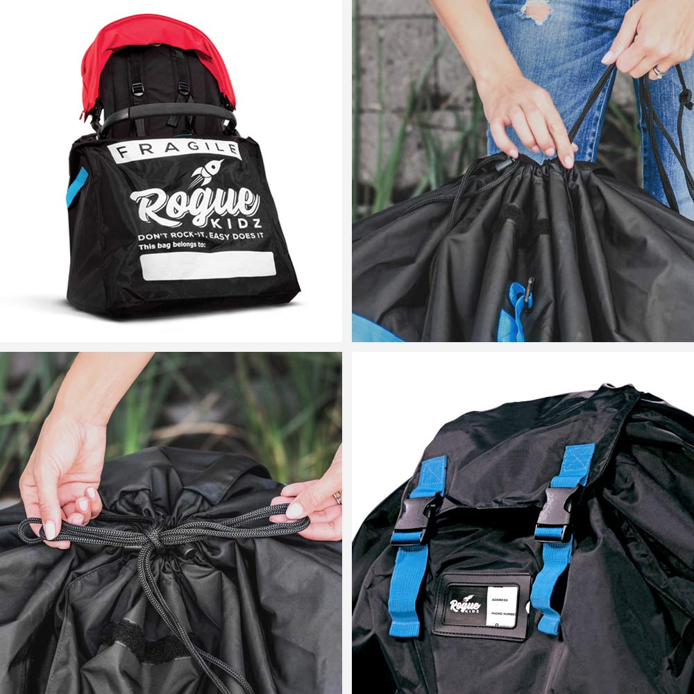 Rogue Kidz Single and Double Stroller Travel Bag For Airplane Gate Check - Durable Universal Large XL Cover With Padded Backpack Straps- Waterproof Heavy Duty Nylon Traveling Protector With Carry Case by Rogue Kidz (Image #7)