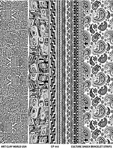 Culture Shock Full Length Low Relief Texture Sheet, 10in x 2in Each of Mayan Ruins, Northwest Native, Woven Cloth, and Paisley.