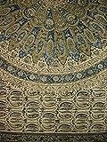 Homestead Veggie Dye Block Print Tapestry Cotton Bedspread 106'' x 72'' Twin Blue