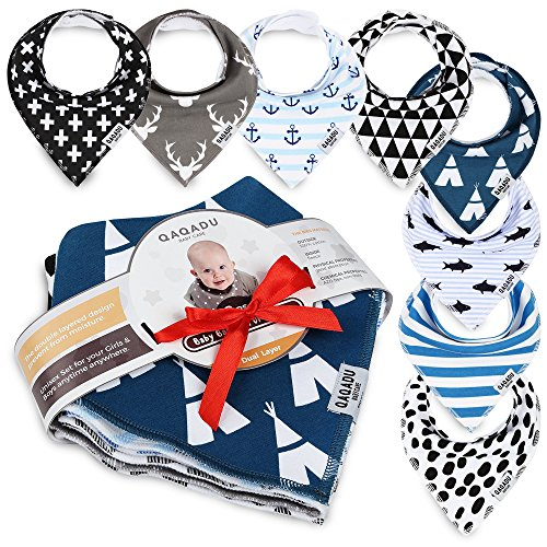 Baby Bandana Drool Bibs - 8 Gift Unisex Set - For Boys and Girls - Perfect for Newborns, Infants and Toodles - Organic Cotton Great for Drooling and Teething - Best Shower Gift - Trend Colors (Toddler Newborn Bib)