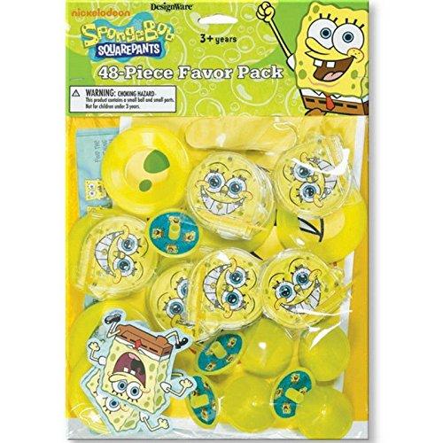Sponge-bob Squarepants Birthday Party Supplies 48pc Mega Value Favor Pack ()
