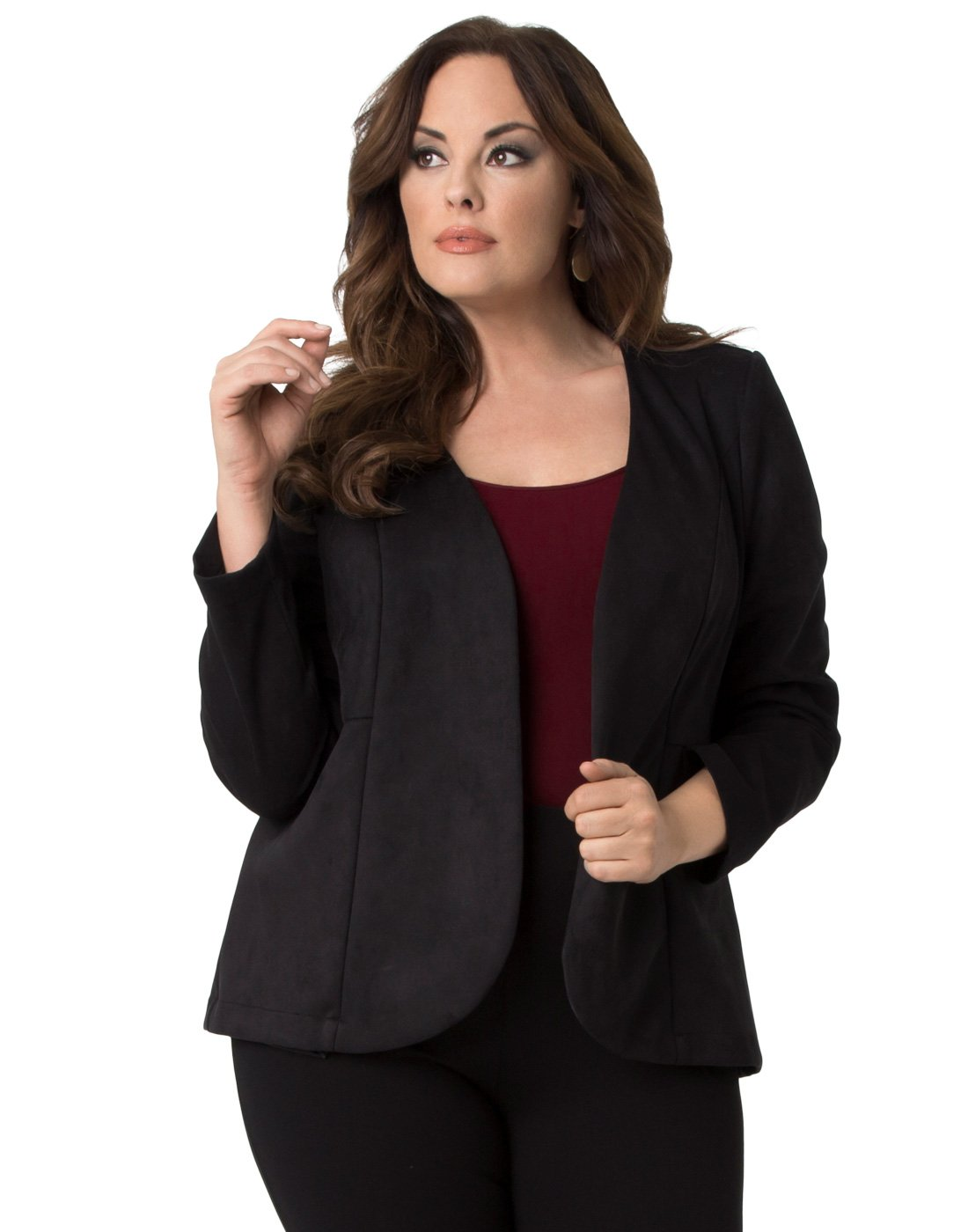 Kiyonna Women's Plus Size Mackenzie Faux Suede Blazer