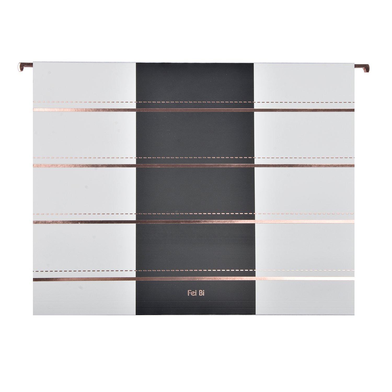 Hanging File Folders-Letter Size-Design 1/5-Cut Adjustable Tabs Rose Gold Stripes12pcs Set-Assorted Practical Suitable for Office Home