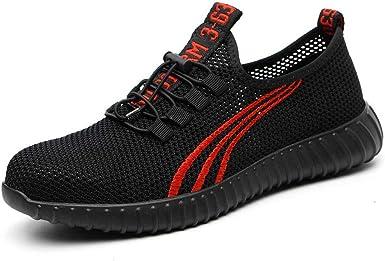 Men's Work Sneakers の Black Steel Toe