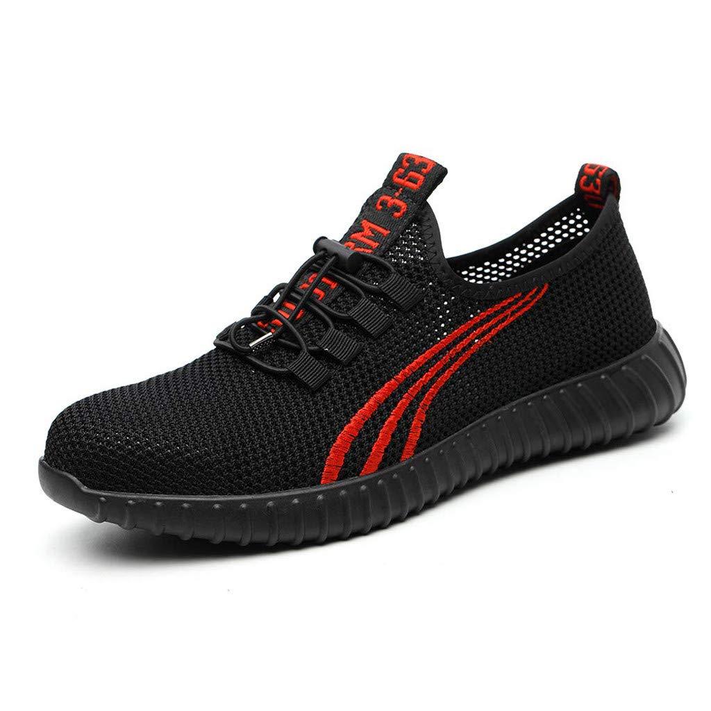 Men's Work Sneakers の Black Steel Toe Work Shoes Heavy Duty Safety Boots Non Slip Anti-Piercing Anti-Smashing Size 4-12 by Sameno Street Sneakers