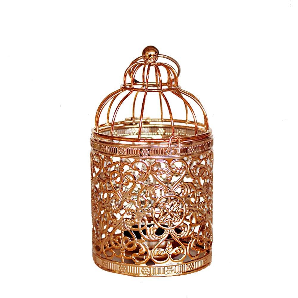 MoGist - Farolillos decorativos de vela, tallados, huecos, Golden-1, 8 * 8 * 14cm
