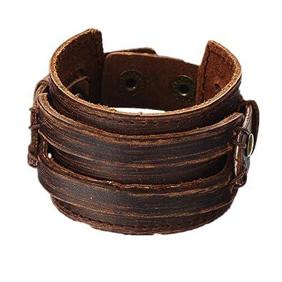 75185ce638c Amazon.com: Brown Leather Men's Cuff Bracelet: Jewelry